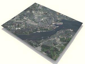 cityscape quebec canada city 3D model