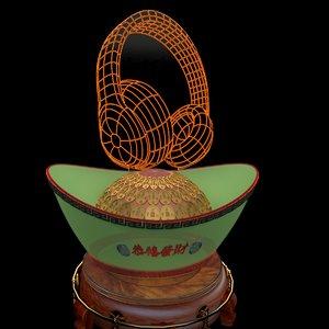 3D model chinese gold ingot headphone