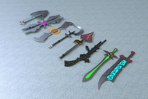 various weapons 3D model