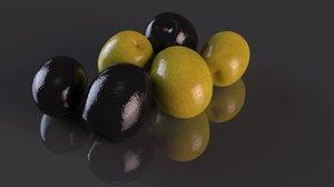 3D olive black green fruit
