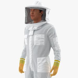 man wearing beekeeping suit 3D