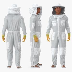 3D man wearing beekeeping suit