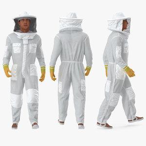 man wearing beekeeping suit model