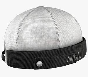 white jeans brimless cap 3D model
