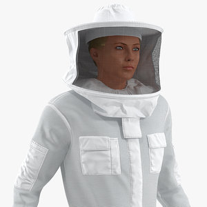 woman beekeeper suit rigged female 3D