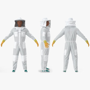 3D woman beekeeper suit rigged