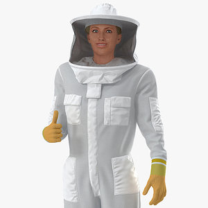 3D woman beekeeper suit rigged female