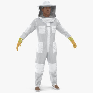 3D man wearing beekeeping suit model