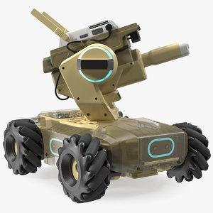 3D mini tank drone rigged model