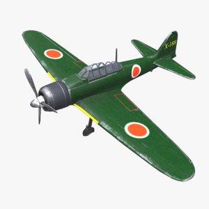 mitsubishi a6m zero fighter plane 3D
