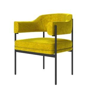 3D yellow velvet armchair