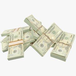 3D pile dollars bills