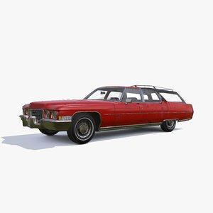 3D 1972 cadillac fleetwood wagon