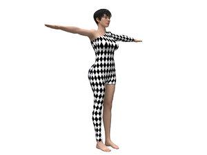 3D female character harlequin clothing model