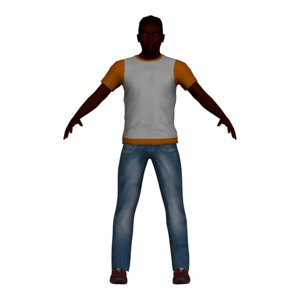 3D adult man rigged character model