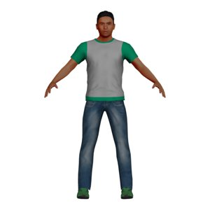 3D male teal character