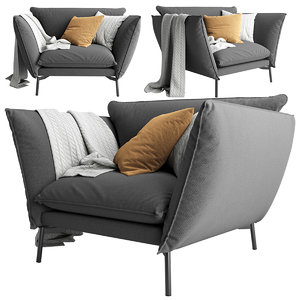 armchair chair hugo 3D model