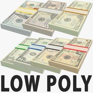 usa dollars banknotes stacks 3D model