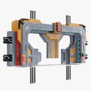 sci fi reinforced sliding 3D model