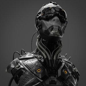 3D character head sci fi