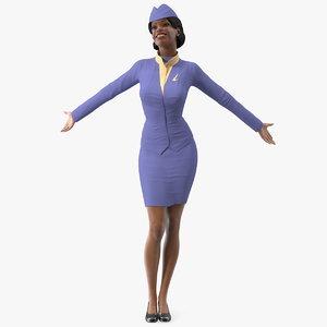 3D model light skin black stewardess