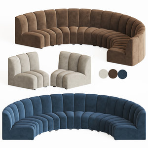 3D curved modular sofa eichholtz