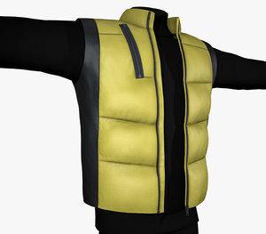 black yellow puffer vest 3D model