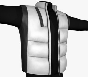 3D model black white puffer vest