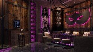 3D bar scene interior model