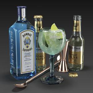 bombay sapphire cocktail set 3D