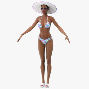 light skinned bikini girl 3D model