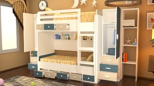 3D kids room design scene model