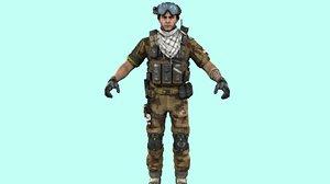 swat policeman rigged 3D model