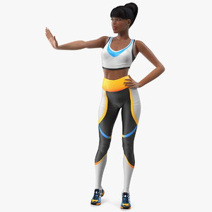 3D light skin fitness woman model