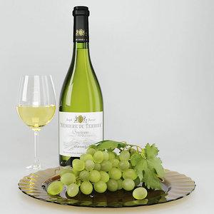 wine grape set 3D model