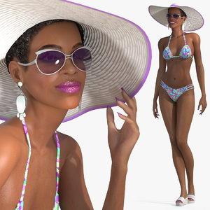 3D light skinned bikini girl model