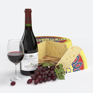 3D model red wine cheese set