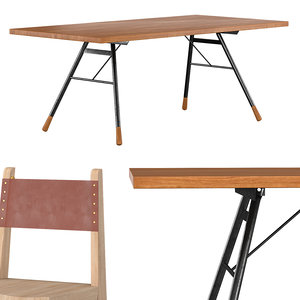 no-24 chair brandywine dining table 3D model