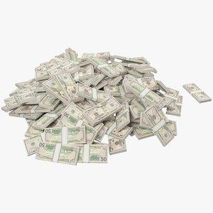 pile dollars bills banknotes 3D