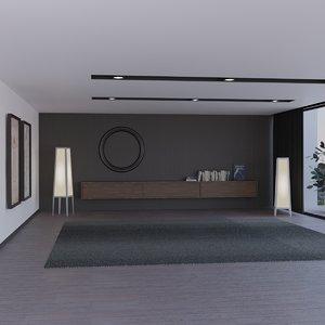 3D living room scene 2 model