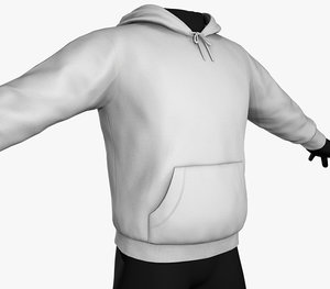 white winter hoodie 3D model