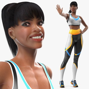 3D light skin fitness woman rigged