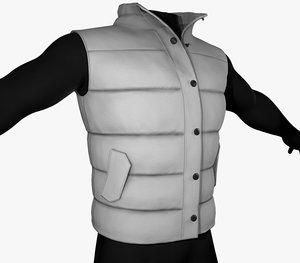 3D model white puffer vest