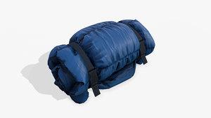 3D pbr sleeping bag folded