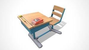 3D cartoon school desk model