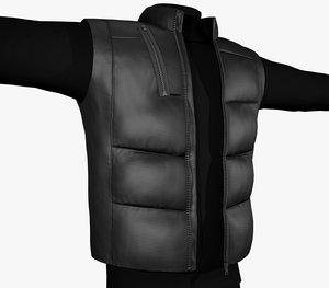 black puffer vest 3D