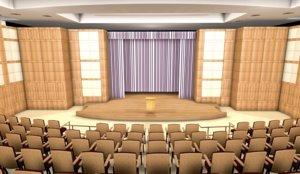 3D hall theater burns auditorium
