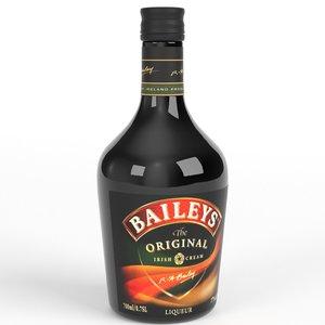3d baileys irish cream whiskey bottle model