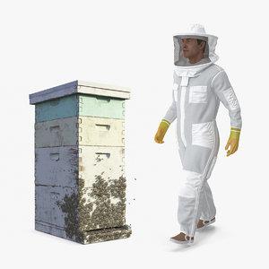 beekeeper beehive box bees 3D model