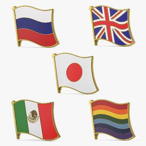 3D flag lapel pins